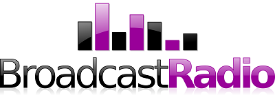 Broadcast Radio logo - purple and black text with purple and black alternating sound bars above