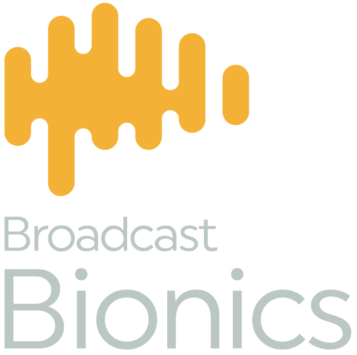 Broadcast Bionics logo - yellow waveform with grey 'Broadcast Bionics' text