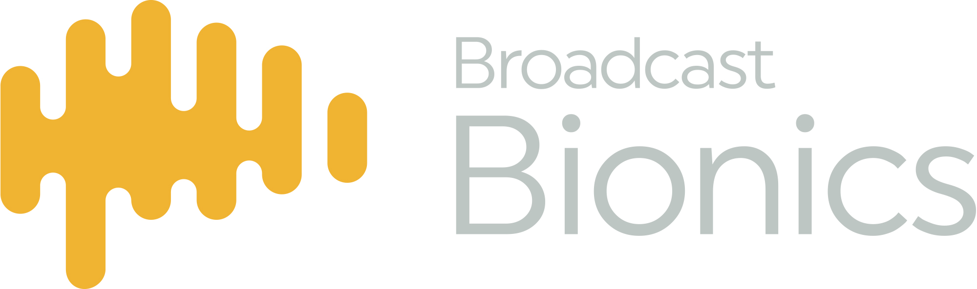Broadcast Bionics logo - ocre waveform splash with grey text