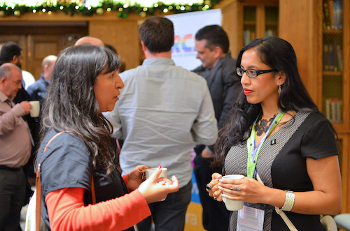 Philippa and Aradhna chatting during a Radio TechCon break