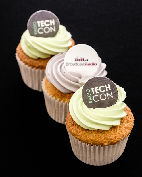 Three cupcakes branded with Broadcast Radio and Radio TechCon logos