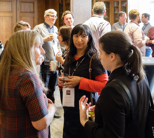 A group of women chat during a coffee break at Radio TechCon 2017