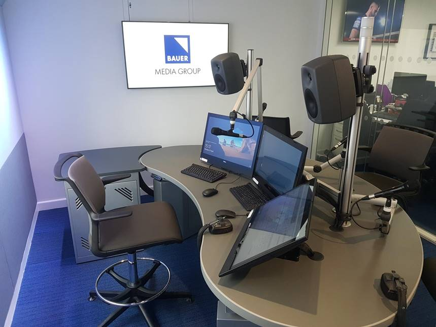 Bauer's agile studio with three touchscreens at different angles on the desk.