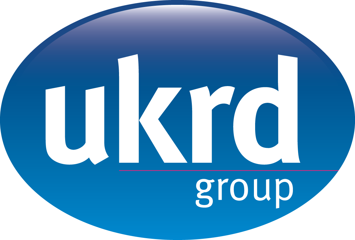 UKRD group logo - Blue gradient oval with white lower-case text