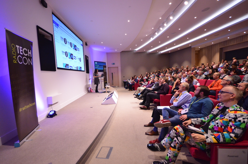 Sideways view of Radio TechCon stage and audience
