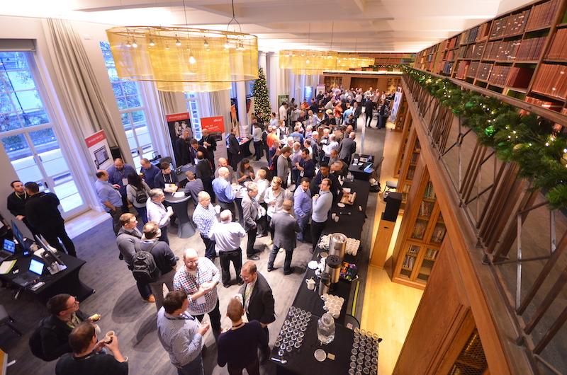 Delegates enjoying the exhibition area at Radio TechCon 2018 - overhead shot