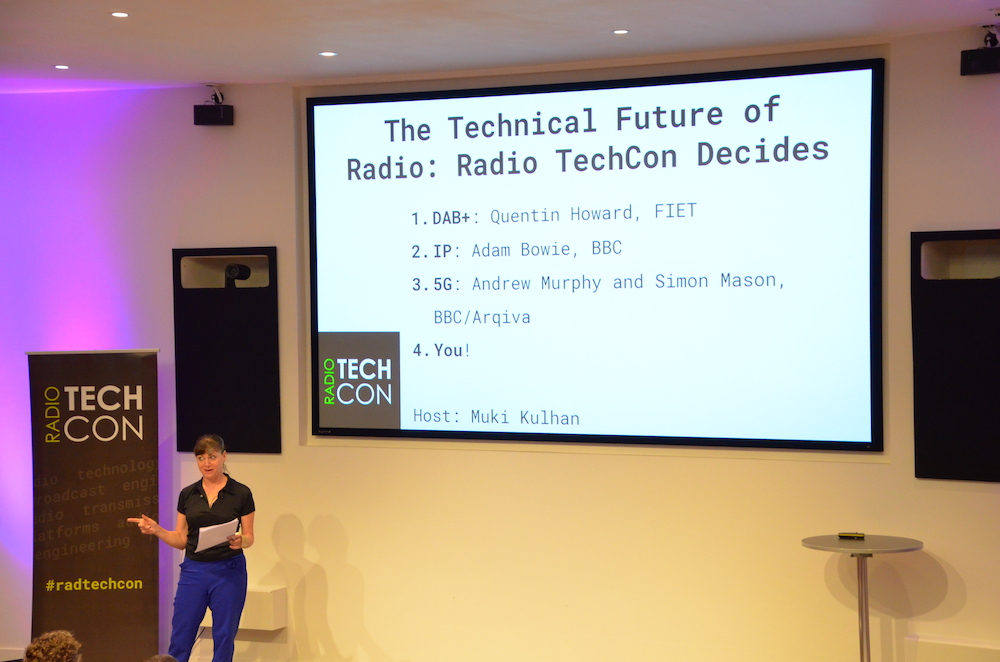 The Technical Future of Radio slide on screen with Muki Kulhan presenting